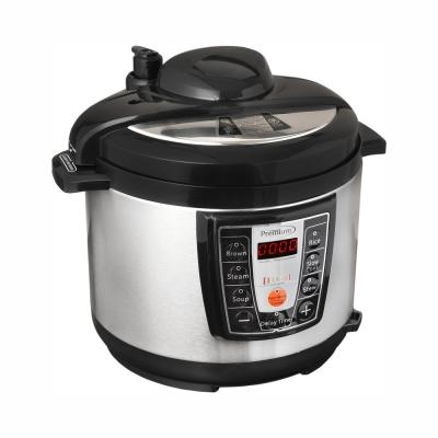 PREMIUM-5.2 Qt. Black and Silver Electric Pressure Cooker with Browning Control