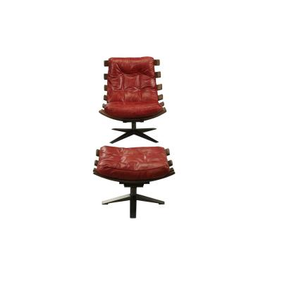 Gandy Antique Red Top Grain Leather 2-Piece Chair and Ottoman