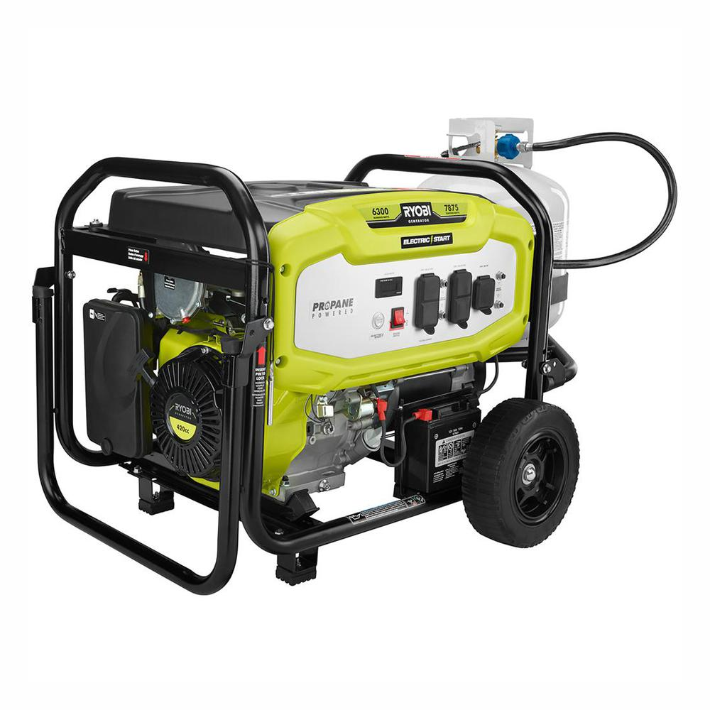 RYOBI 6,300 Running Watt Propane Gas Powered Electric Start Portable Generator
