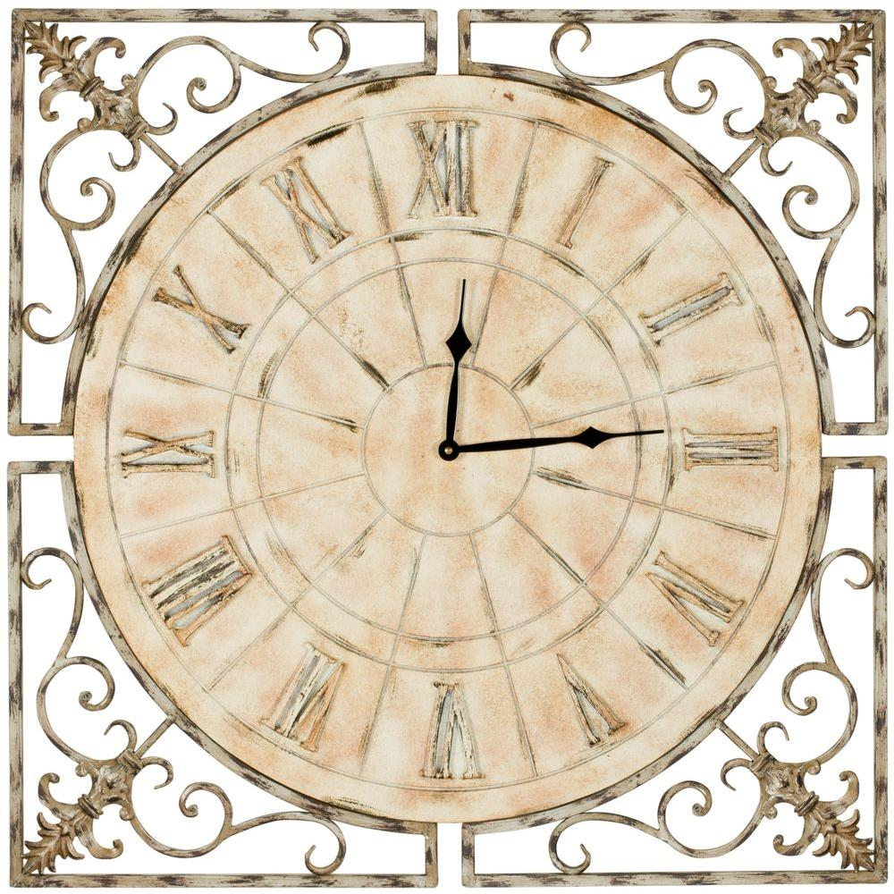 Safavieh kathleen 27 in square clock in distressed antique white square clock in distressed antique white amipublicfo Image collections