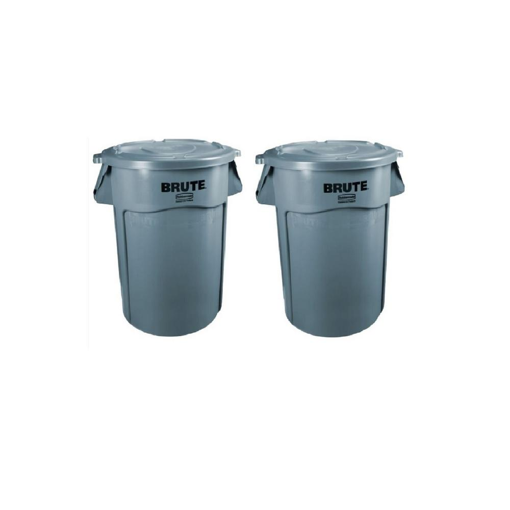 Brute 32 Gal. Gray Round Vented Trash Can with Lid (2-Pack)