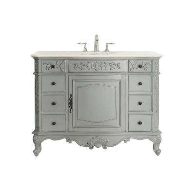 Winslow 45 in. W x 22 in. D Vanity in Antique Gray with Marble Vanity Top in White with White Sink