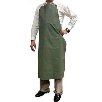 Waterproof and Oilproof Vinyl Bib Apron with Adjustable Neck, Large, Green