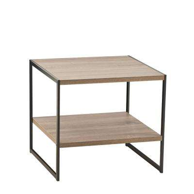 18.9 in W x 18.8 in. D Gray End Table with Decorative Shelf