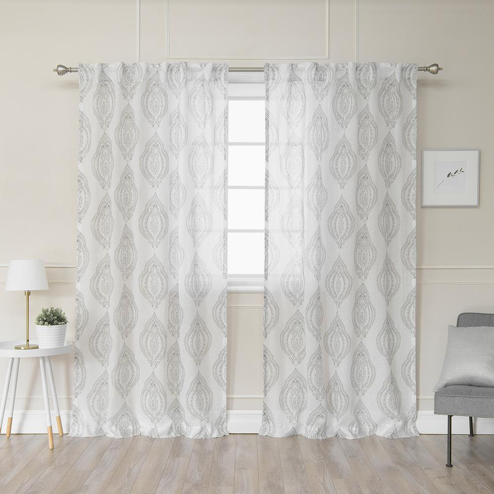 Best Home Fashion 84 In L Polyester Faux Linen Sheer Medallion Curtains In Grey 2 Pack