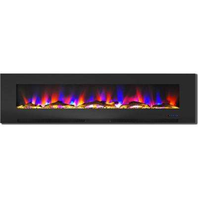 78 in. Wall-Mount Electric Fireplace in Black with Multi-Color Flames and Driftwood Log Display