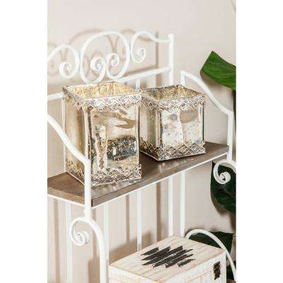 White Cuboid Glass Candle Holders with Silver Ornate Details (Set of 2)