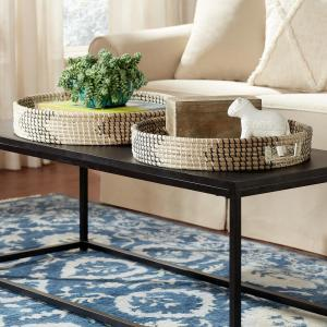 Black, White and Natural Seagrass Decorative Round Tray (Set of 2)
