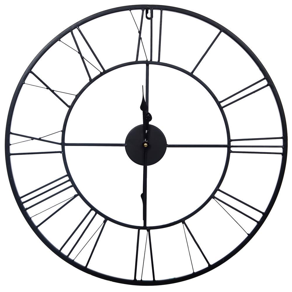 Metal Cutout Roman Numeral Black Wall Clock