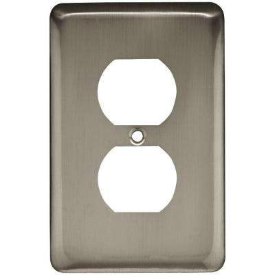 Stamped Round Decorative Single Duplex Outlet Cover, Satin Nickel