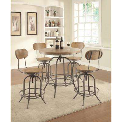 Industrial Adjustable Height Weathered Brown Bar Stool (Set of 2)