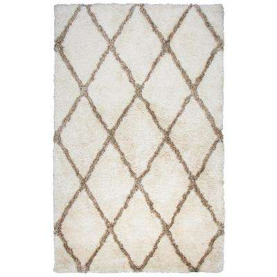 Commons Ivory Polyester Shag 9 ft. x 12 ft. Area Rug