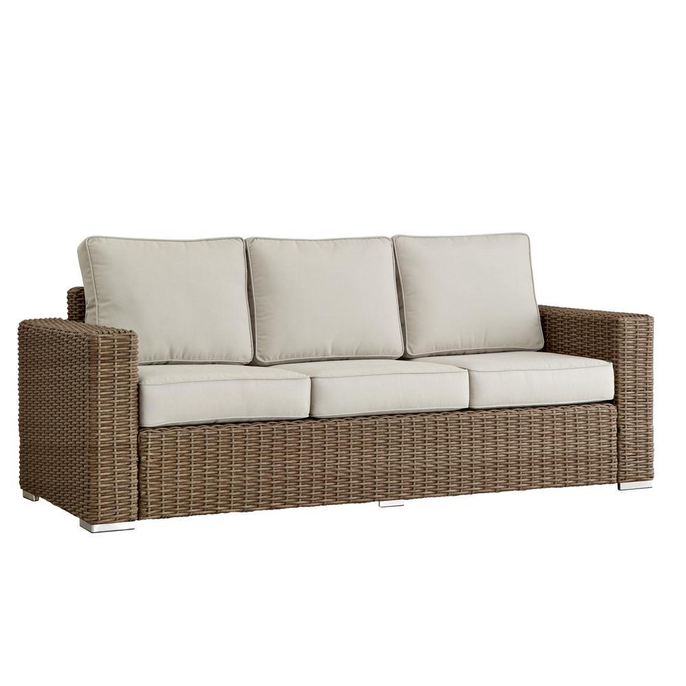 Camari Mocha Square Arm Wicker Outdoor Sofa with Beige Cushion