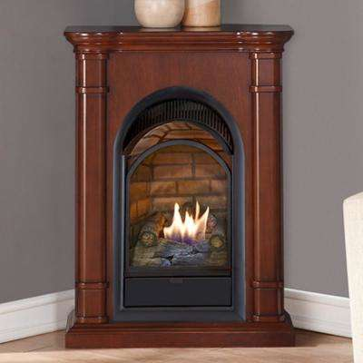 28 in. Ventless Dual Fuel Fireplace with Mantel in Walnut 15,000 BTU T-Stat Control