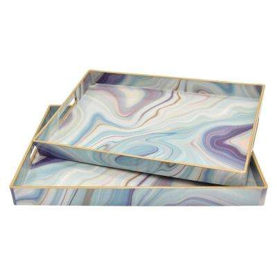18.75 in. x 13.75 in. x 1.5 in. Multi-Colored Tray (Set of 2)