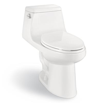 1-Piece 1.28 GPF High Efficiency Single Flush Elongated Toilet in White, Seat Included