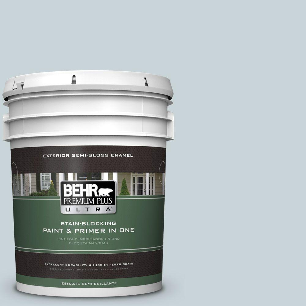 BEHR Premium Plus Ultra 5-gal. #PPL-73 Tranquil Sea Semi-Gloss Enamel Exterior Paint