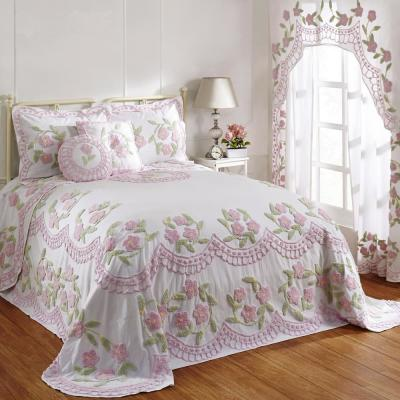 Bloomfield Collection in Floral Design Rose Twin 100% Cotton Tufted Chenille Bedspread
