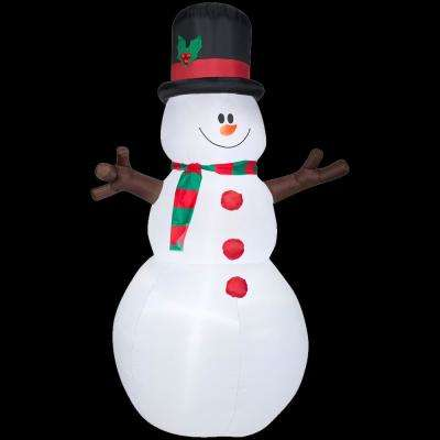 5 ft. W x 8 ft. H Inflatable Snowman with Christmas Scarf and Hat