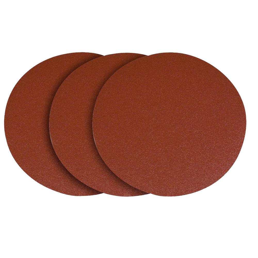 POWERTEC 12 inch 80 Grit PSA Aluminum Oxide Sanding Disc/Self Stick (3-Pack) by POWERTEC