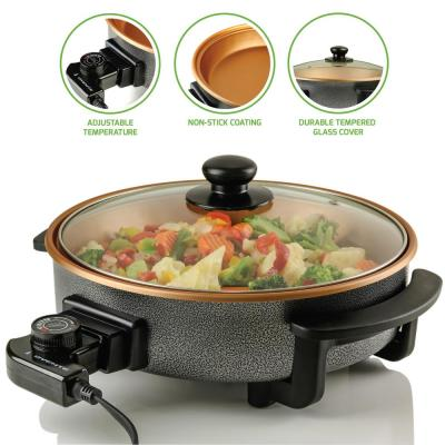12 Inch Copper Electric Skillet with Non-Stick Aluminum Body Temperature Controller, Tempered Glass Cover (SK11112CO)