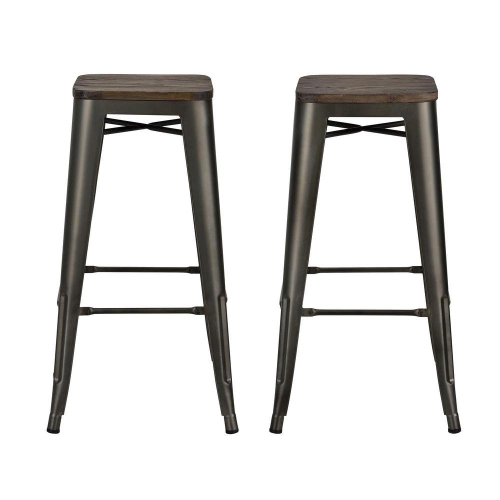 Dhp Penelope 30 In Antique Copper Bar Stool With Wood
