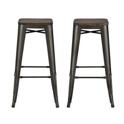 Penelope 30 in. Antique Copper Bar Stool with Wood Seat (Set of 2)