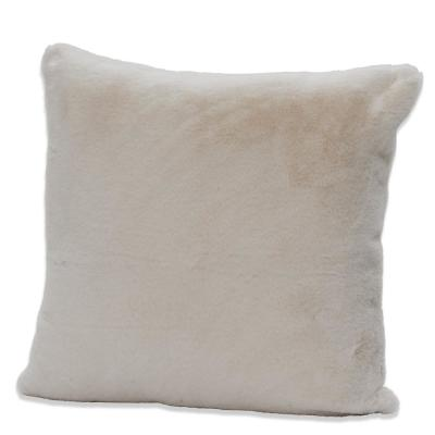 Piper White Faux Rabbit Fur Polyester Fill 20 in. x 20 in. Throw Pillow