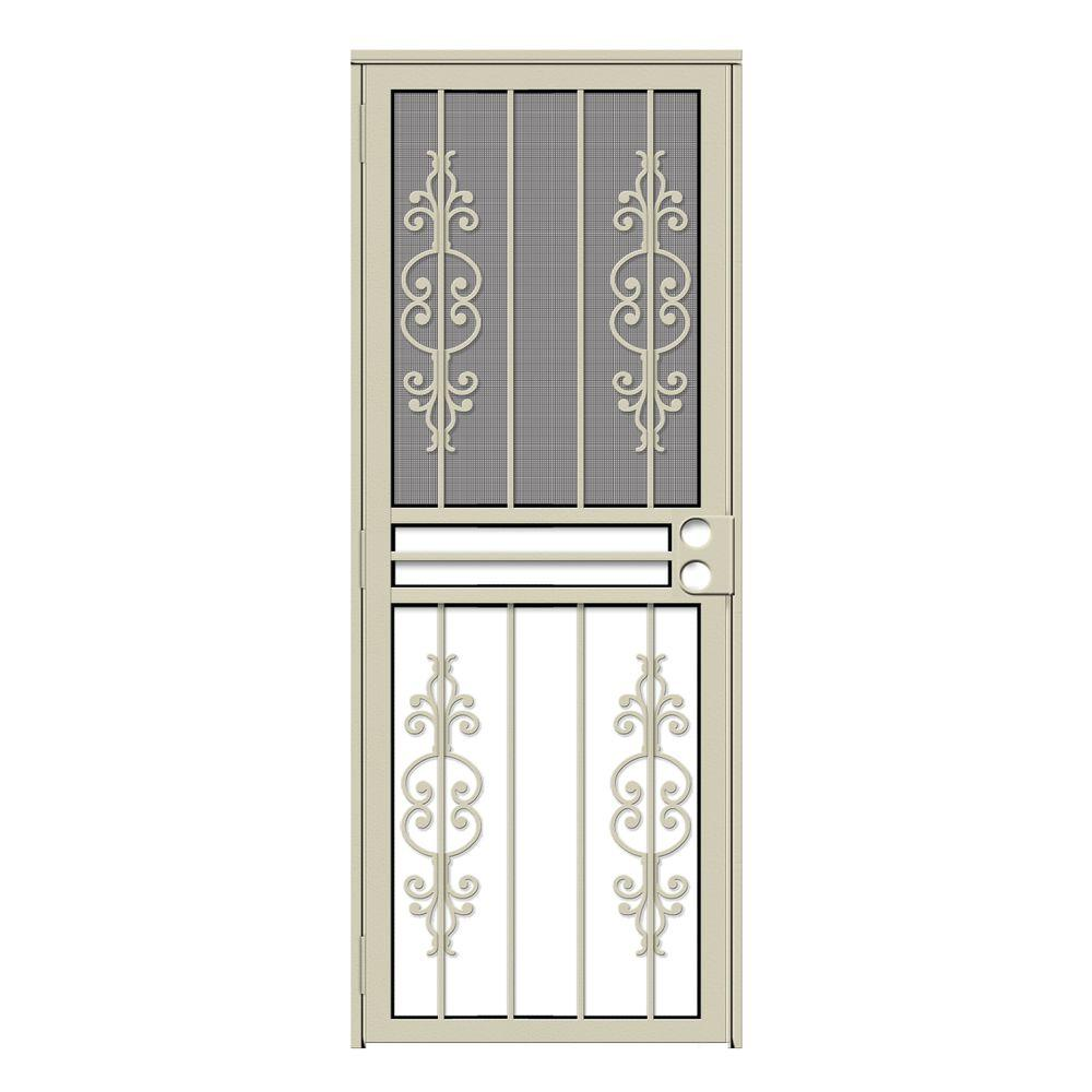 Unique Home Designs 30 in. x 80 in. Estate Almond Recessed Mount All Season Security Door with Insect Screen and Glass Inserts