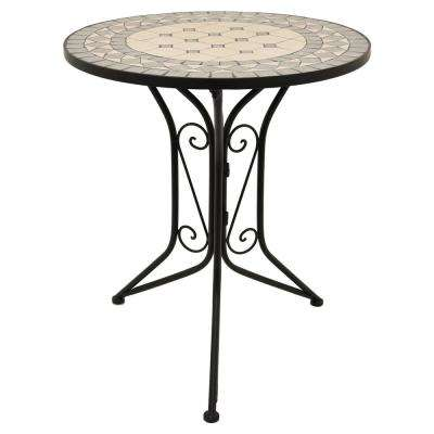 36 in. Metal Bistro Table in Black And Multicolor Top