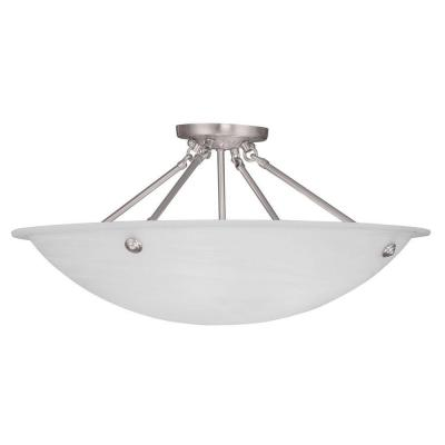 Livex Lighting Providence 4-Light Brushed Nickel Flush Mount with White Alabaster Glass