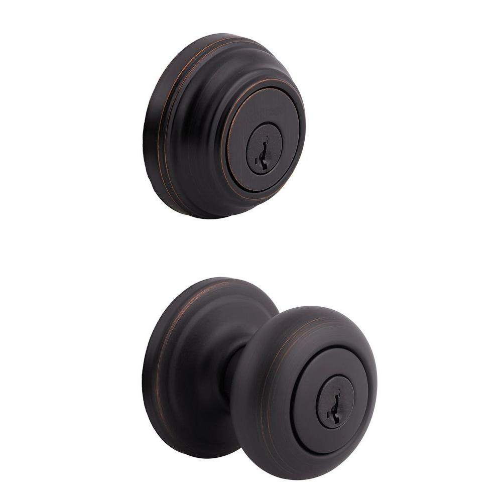 Kwikset Juno Venetian Bronze Exterior Entry Door Knob And Single Cylinder  Deadbolt Combo Pack Featuring SmartKey