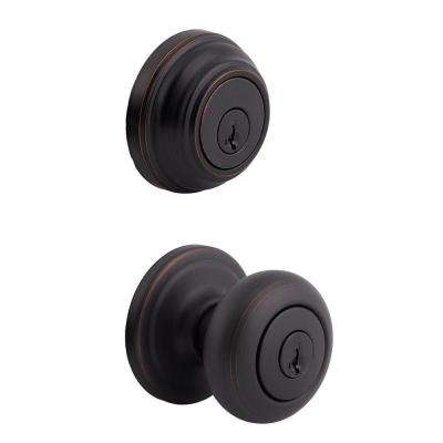 Juno Venetian Bronze Exterior Entry Knob and Single Cylinder Deadbolt Combo Pack featuring SmartKey