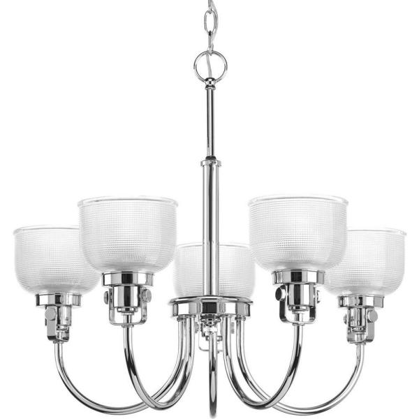 Archie Collection 5-Light Chrome Chandelier with Clear Prismatic Glass Shade