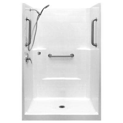 Classic-SA 42 in. x 42 in. x 80 in. 1-Piece Low Threshold Shower Stall Package in White, LHS Shower Kit, Center Drain