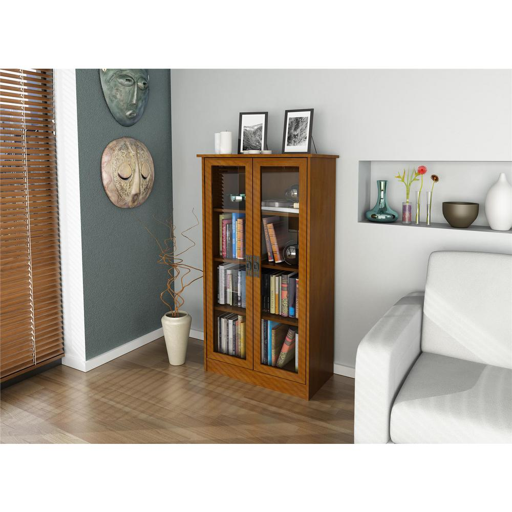 Design Bookcase With Glass Doors ameriwood altra cherry glass door bookcase 34825 the home depot bookcase