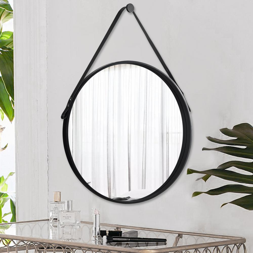 Neu Type Retro Round Wall Hanging Mirror With Leather Strap Jj00778aaf The Home Depot