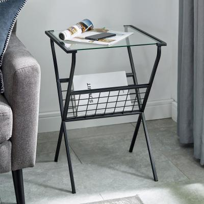 17 in. Black Modern Metal & Glass Side Table with Magazine Holder