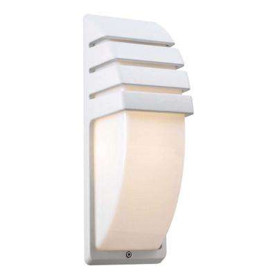 1-Light White Outdoor Sconce with Matte Opal Glass