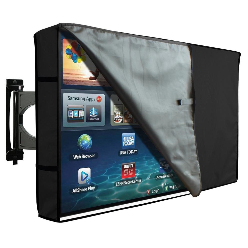 Black Outdoor Tv Cover With Clear Front Universal Weatherproof Protector