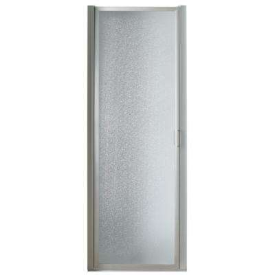32 in. x 63-5/8 in. Framed Pivot Shower Door in Chrome with Rain Glass