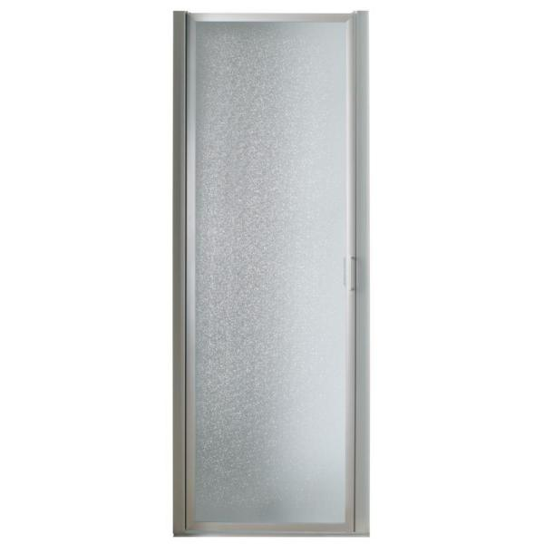 32 in. x 63-3/4 in. Framed Pivot Shower Door in Chrome with Rain Glass