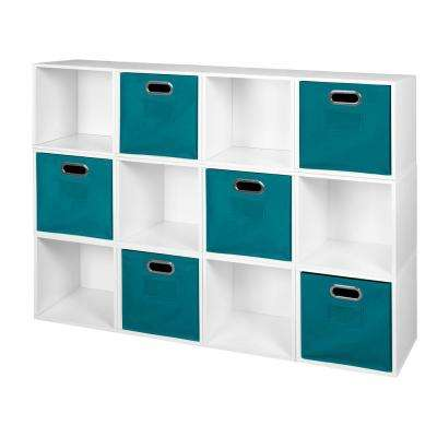 Cubo 52 in. W x 39 in. H White Wood Grain/Teal 12-Cube and 6-Bin Organizer