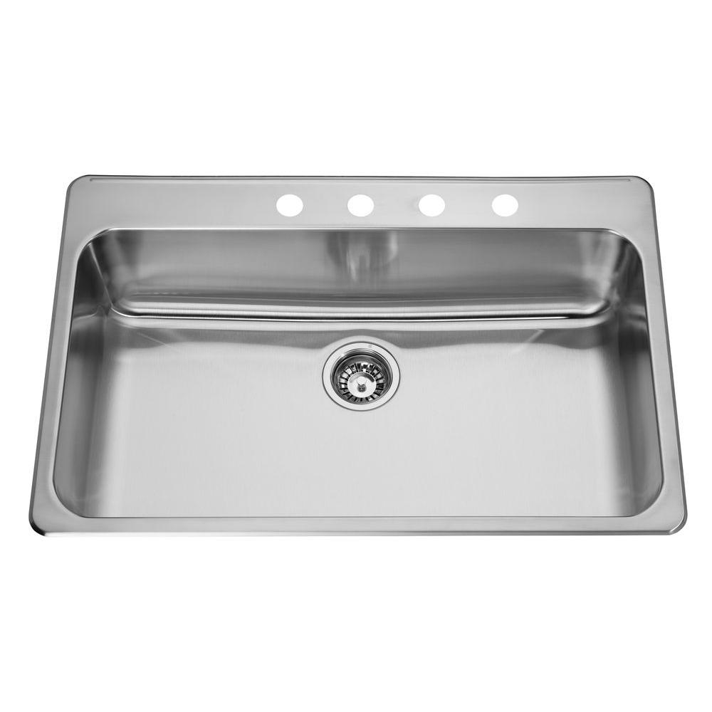 ECOSINKS Acero Drop-In Drop-in Stainless Steel 33x22x8 4-Hole Single Basin Kitchen Sink with Satin Finish-DISCONTINUED
