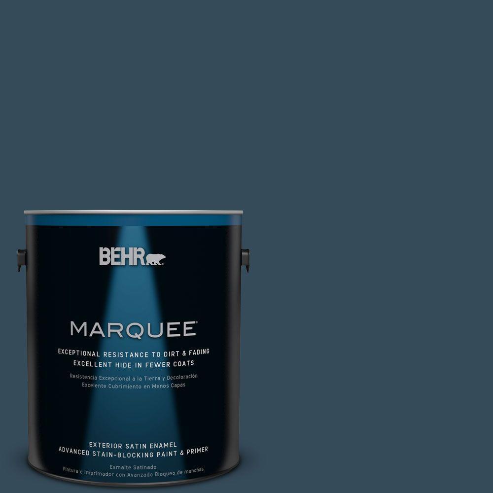 BEHR MARQUEE Home Decorators Collection 1-gal. #HDC-CL-28 Nocturne Blue Satin Enamel Exterior Paint