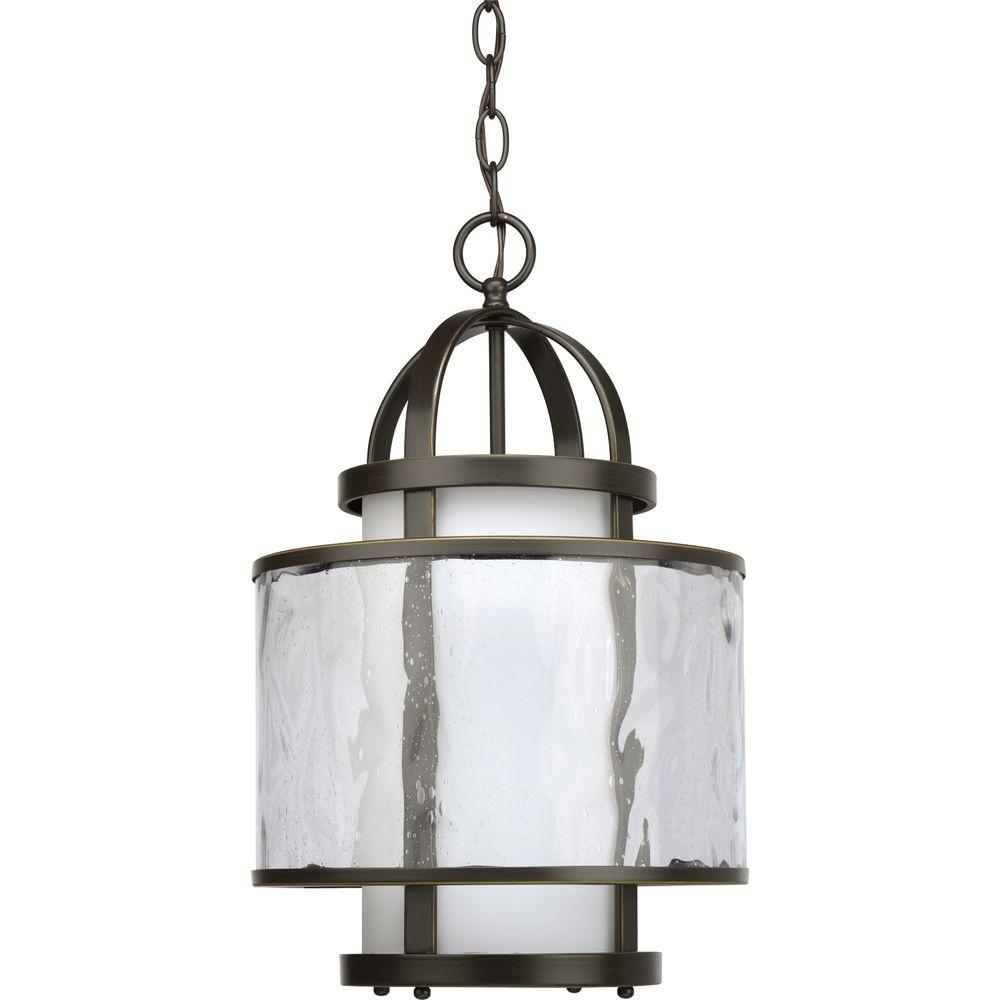 Bay Court Collection 1-Light Antique Bronze Foyer Pendant with Etched Opal