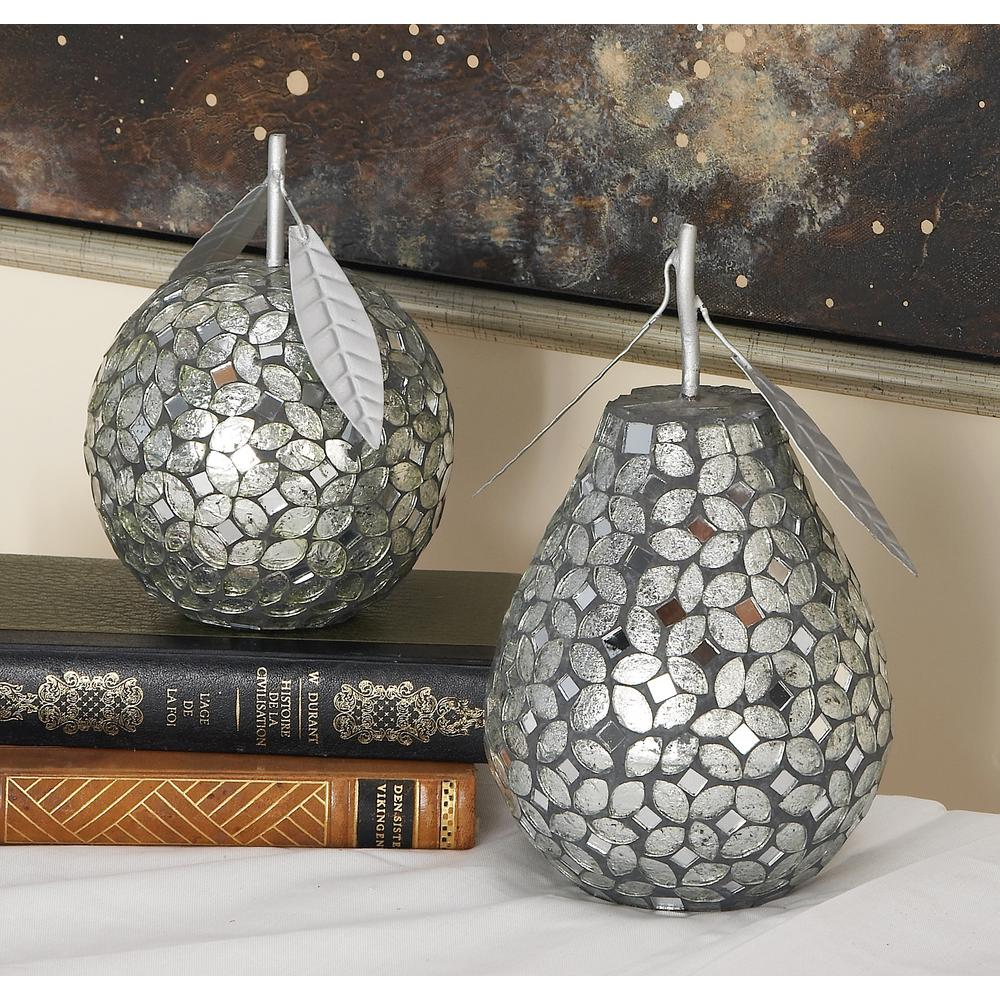 Silver Iron Reflective Glass Mosaic Pear and Apple Decor (Set of