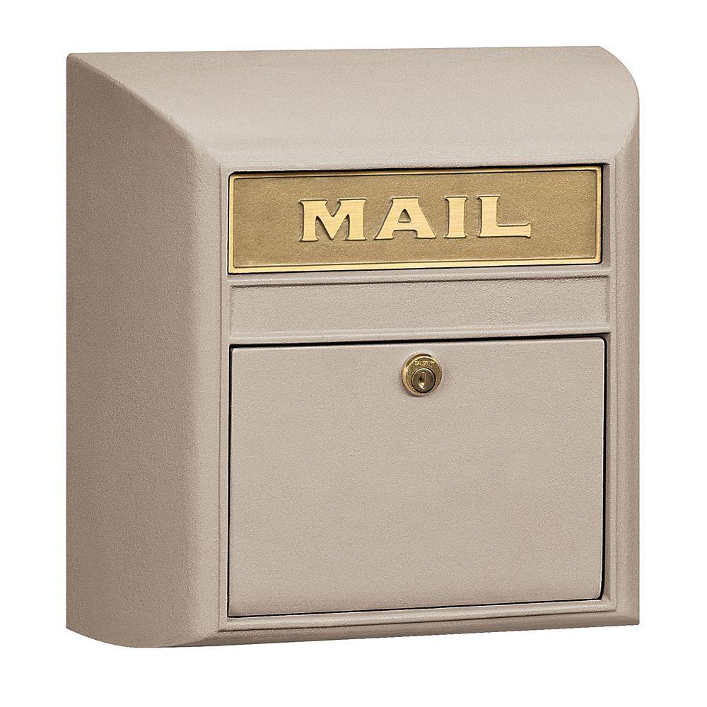 4100 Series 14.5 in. W x 14.5 in. H x 6 in. D Beige Plain Door Modern Mailbox