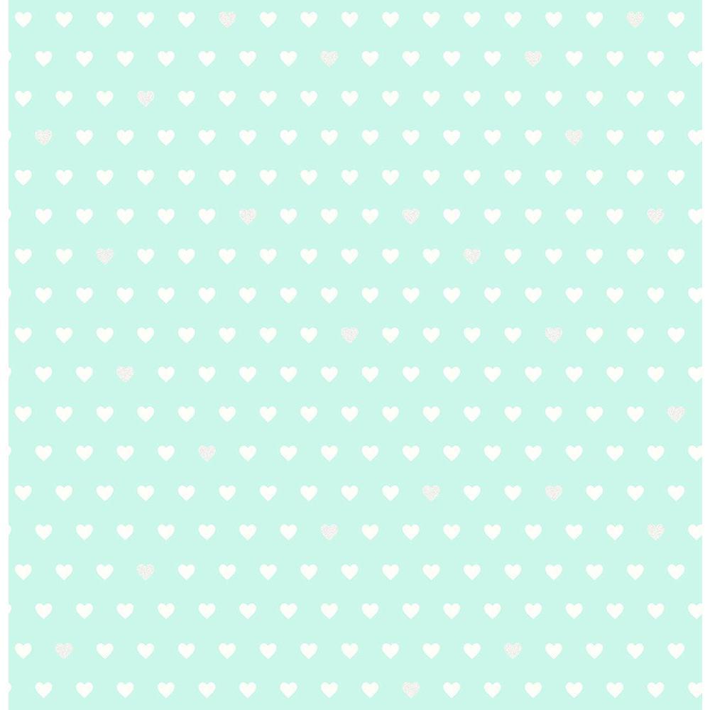 Aqua Small Hearts Wallpaper Sample