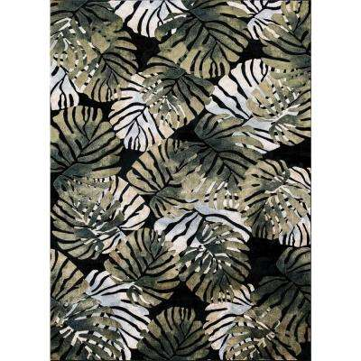 Olympus Tropical Black Rectangle Indoor 9 ft. x 12 ft. Area Rug
